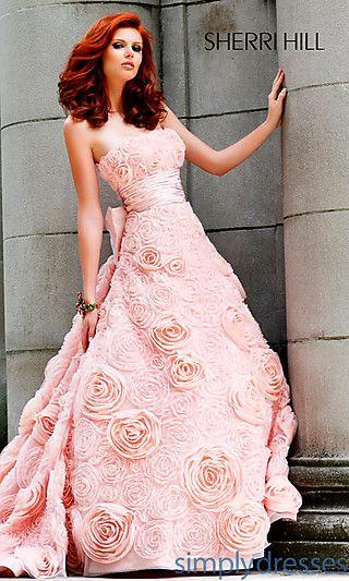 Cute Homeing Dresses Formal Prom Dresses Evening Wear Strapless Rose Embellished Dress Pink Wedding