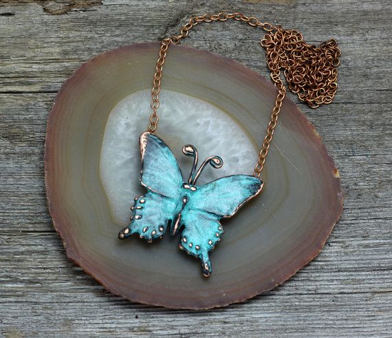 Blue Copper Butterfly pendant necklace by EarthlyCreature on Etsy