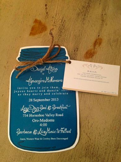 The wedding invitations. Used a FREE online template for the mason jar, the RSVP…