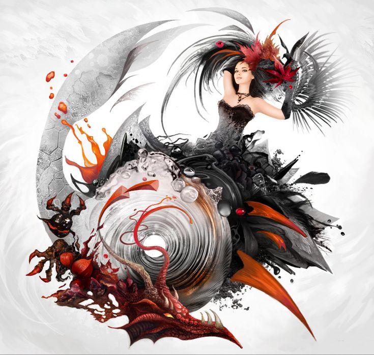 Lyrics and Music by KseniyaLvova #artwork #woman #female #dragon #character #black #red #dress #dark #fantasy #goth #gothic