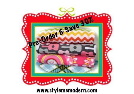 Christmas Special - 30% Baby Blankets.  Pre-order for delivery before Christmas (Canada & USA).  Act fast.....sale ends November 22nd. www.stylememodern.com