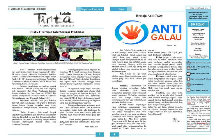 Buletin Tinta Edisi 22, 15 April 2016