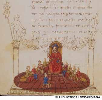 A master teaches his pupils in this drawing from an illuminated manuscript version of Filippo Calandri's Trattato di Arithmetica, an abbaco treatise originally printed in Florence in 1491. (Source: Biblioteca Riccardiana (Florence, Italy), Ricc. 2669, page 111 verso