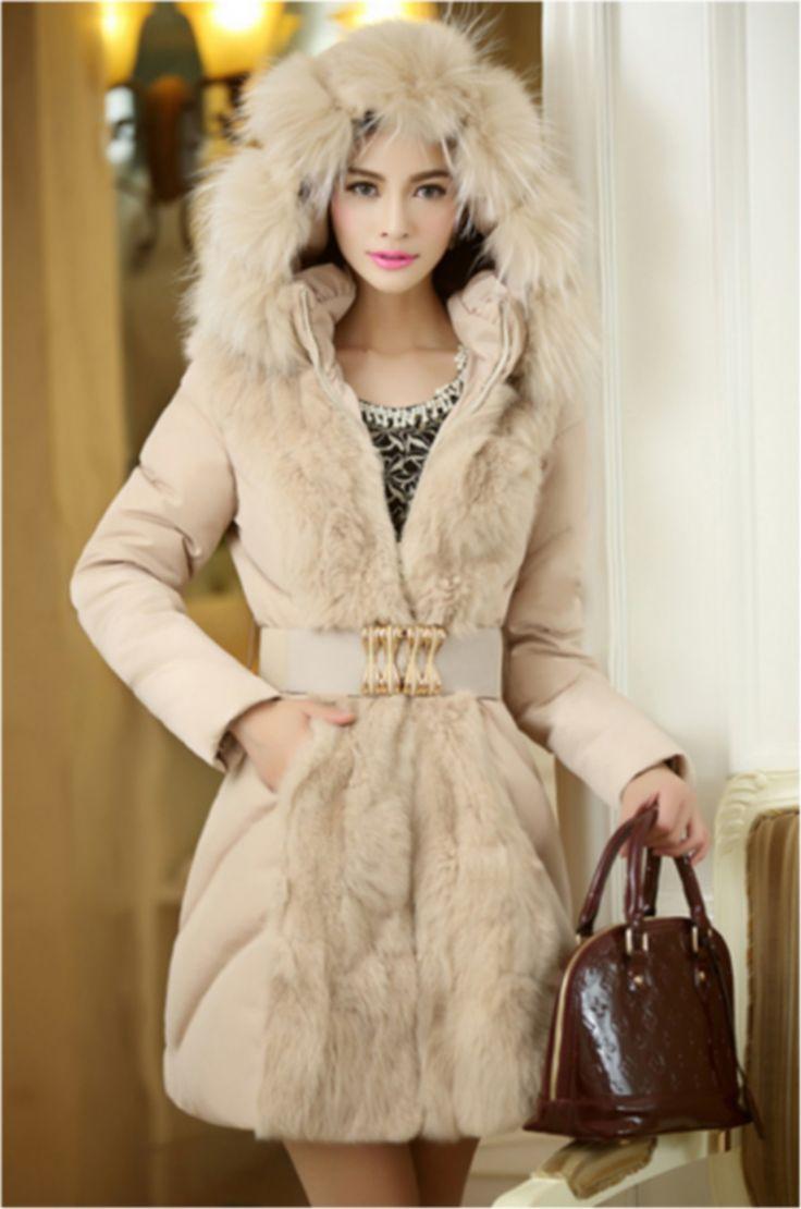 Manteau JADE, Doudoune Femme, Doudoune coton, Veste à capuche avec fourrure , Manteau Fourrure