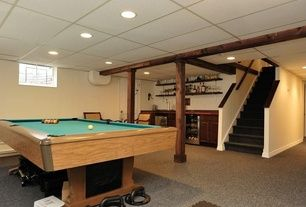 Contemporary Game Room with simple granite floors, Box ceiling