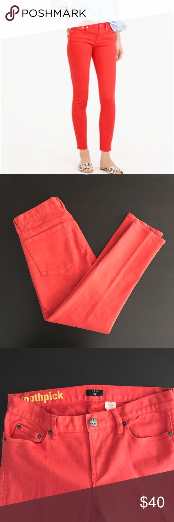 "J. Crew Factory Orange Red Skinny Ankle Jeans Excellent preowned condition, Cropped ankle jeans with a little bit of stretch. Color is like a coral color. Approximate measurements when laid flat: 15"" waist, 8"" rise, 26"" inseam. J. Crew Factory Jeans Ankle & Cropped"