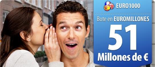 51 millones de Euros en Euromillones y 1.000 apuestas para conseguirlo el 8 de Marzo    https://www.ventura24.es/euromillones/euro1000.do?idpartner=social_source