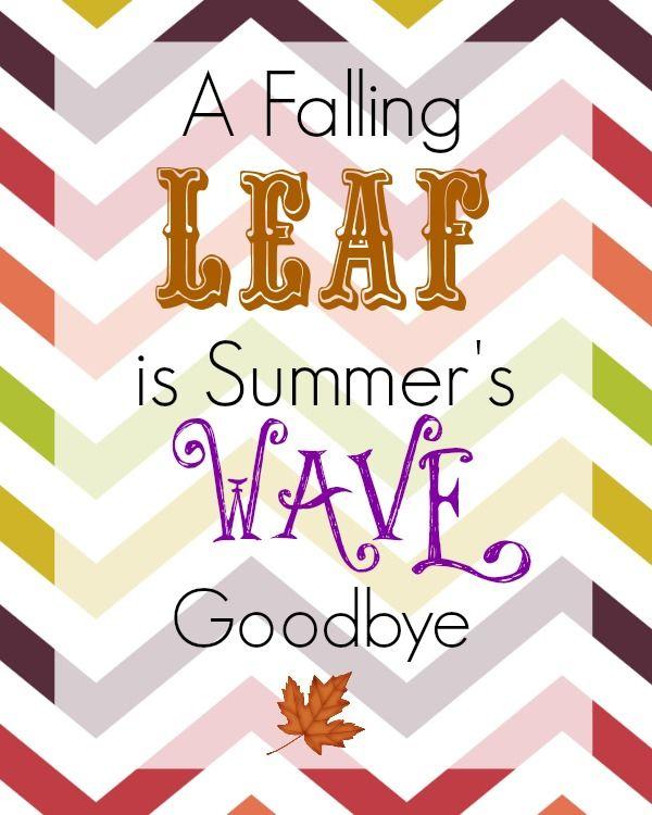 Free Thanksgiving Printable U2013 A Falling Leaf Is Summeru0027s Wave Goodbye