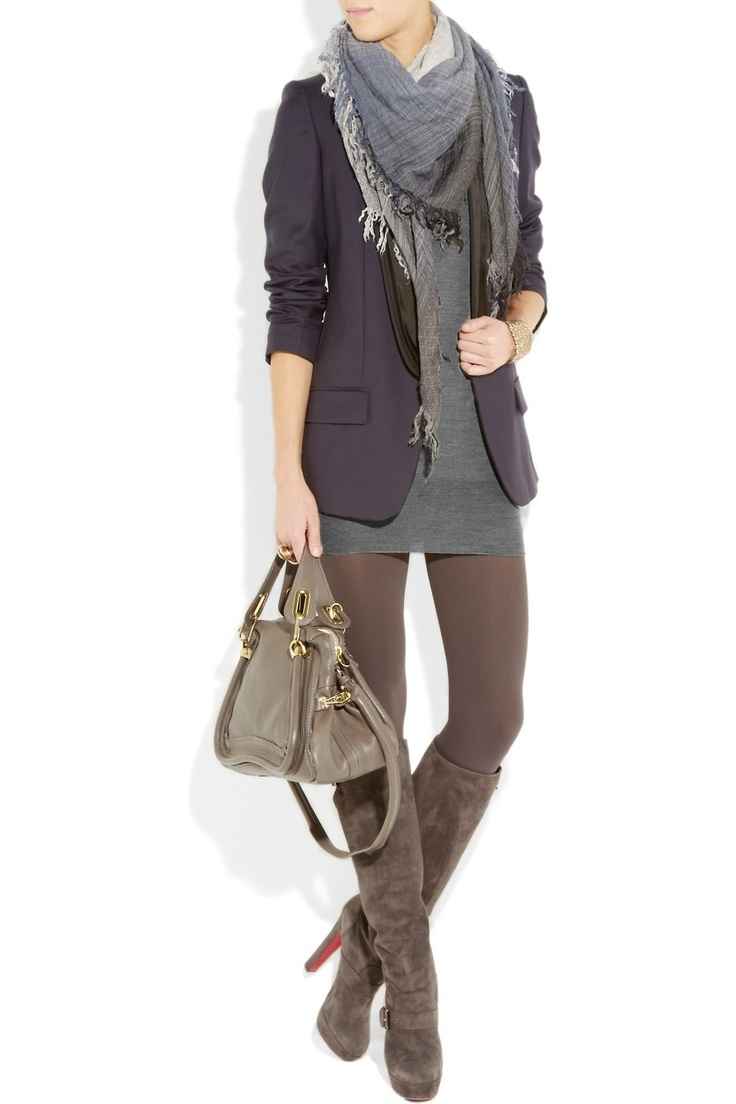 .great outfit love the big scarf!