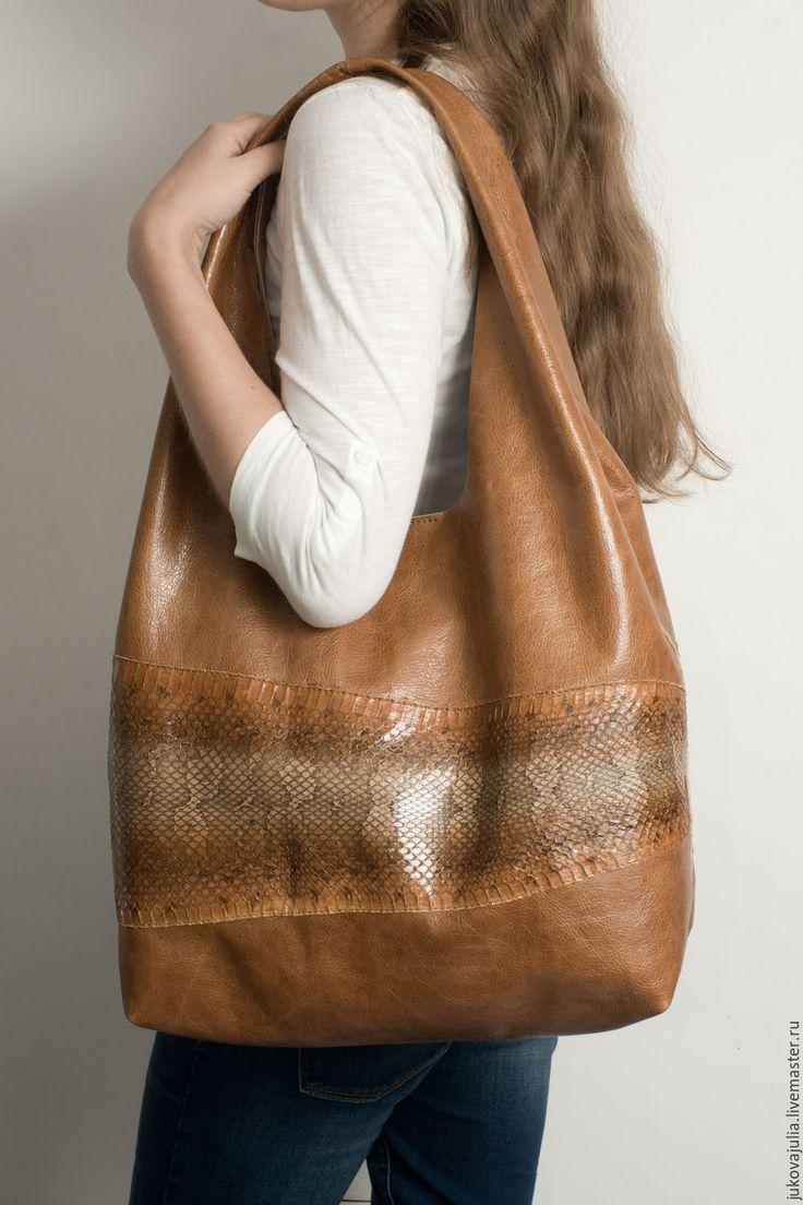 Купить Мешок сумка из натуральной кожи рыжая коричневая - рыжий, рыжик, сумка…
