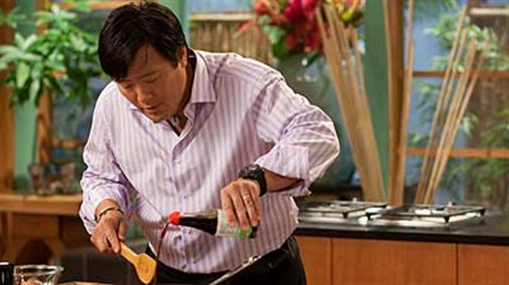 Ming Tsai serves up a delicious duck recipe with steamed rice, ketchup bbq glaze, bean sprouts.