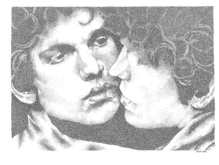 Narcissus - www.sereninspired.com - pointillism