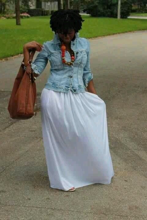 jean jacket over long dress/skirt/maxi and statement necklace
