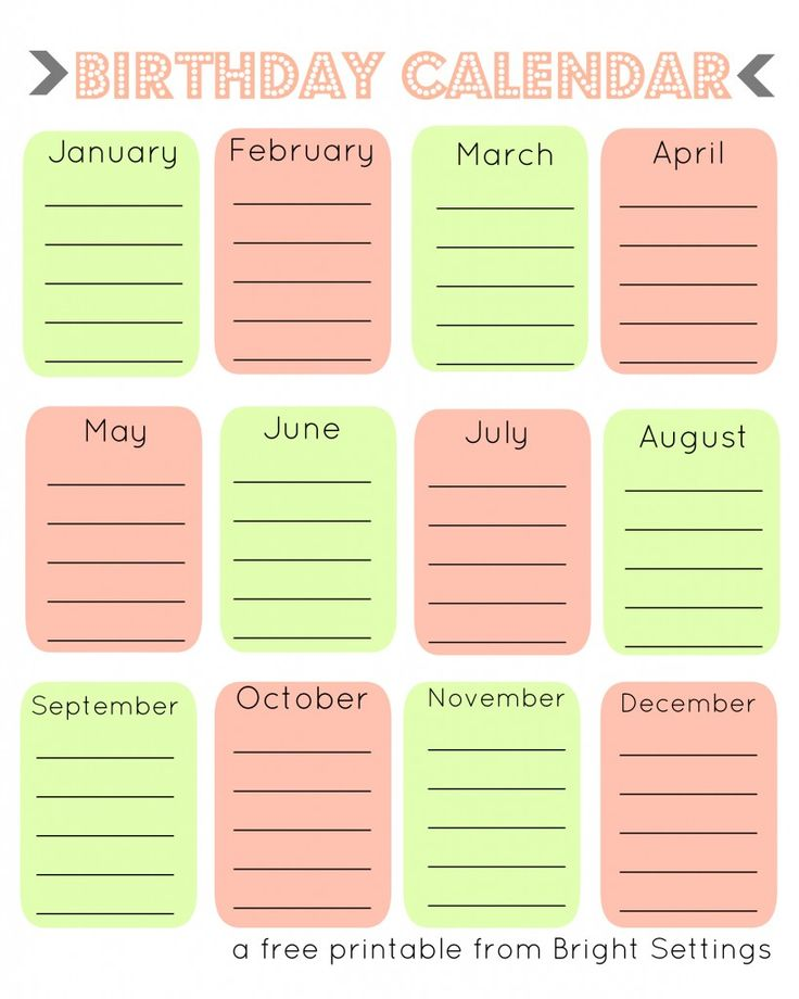 28 best Printable Birthday Calendar images on Pinterest Birthday - sample monthly calendar