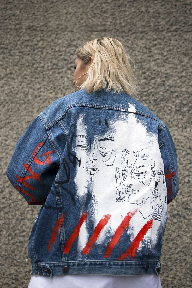 Denim Series: A VFile by Designer @yukihaze. Mana and Caspian wear my hand-painted jackets (acrylic on denim)