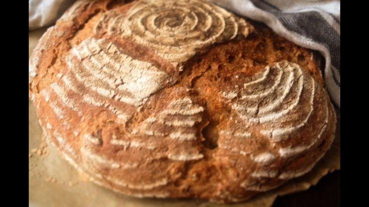 Пшенично-ржаной хлеб с беконом и луком замешанный на кухонной машине Анк...