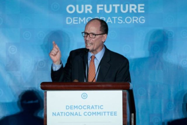 ATLANTA — Tom Perez was elected the next chair of the Democratic National Committee on Saturday afternoon, putting an end to a contentious four-month election that divided the battered party's liberal and centrist wings along similar lines as last year's presidential primary race. Perez, seen as the more establishment choice, immediately tapped his chief rival Rep. Keith Ellison, D-Minn., as his deputy.    (Photo: Chris Berry/Reuters)