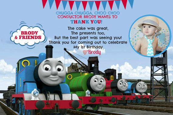 thomas the train invitation and thank you card by