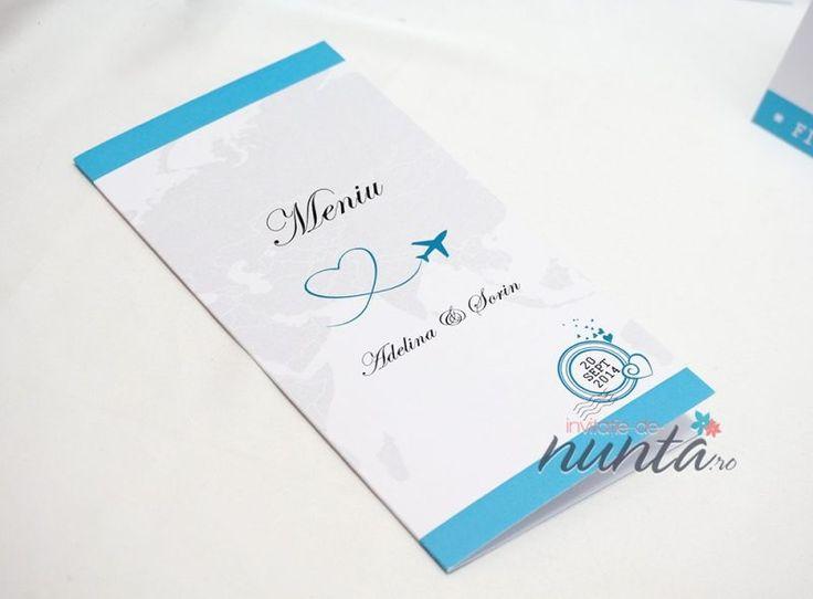 Meniu bilet de avion Love Journey, perfect pentru o nunta cu tematica Travel.