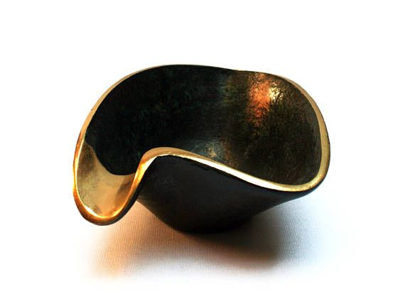 Vintage 1950s modernist bronze ashtray, Black and gold tone, Mid century modern smoker accessory, Office MCM decor
