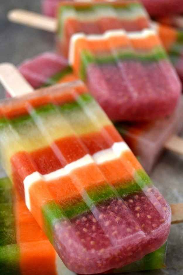 Power Smoothie Striped Popsicles