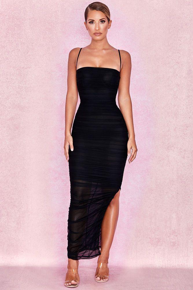 34fefa90fcfb93 House of CB 'Fornarina' Black Organza Mesh Maxi Dress L 12 / 14 MA 767  #fashion #clothing #shoes #accessories #womensclothing #dresses (ebay link)