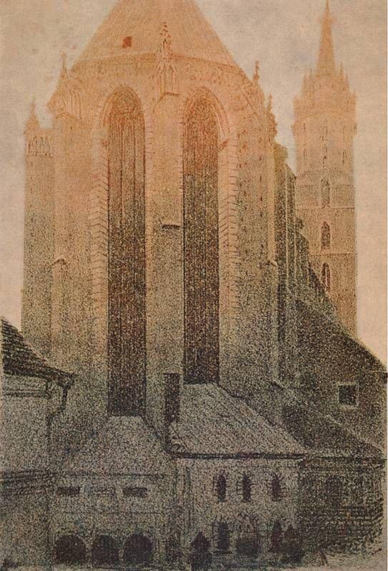 Leon WYczółkowski.  Apsyda kościoła Mariackiego w Krakowie - o świcie.   1926-27. Litografia barwna