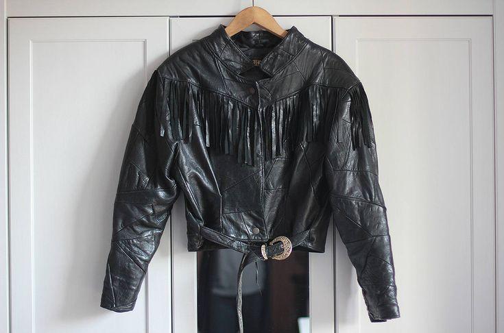 Vintage Leather Biker Jacket Fringe Grunge Black Ramones Retro