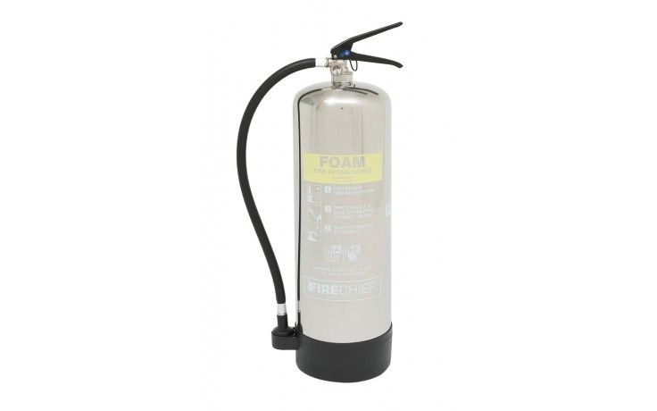 9 litre Polished Foam Extinguisher | Stainless Steel Fire Extinguishers