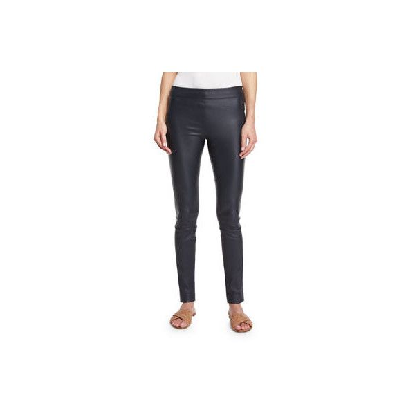 The Row Moto Leather Leggings ($2,090) ❤ liked on Polyvore featuring pants, leggings, navy, blue skinny pants, blue leather pants, leather leggings, blue leather leggings and navy blue skinny pants