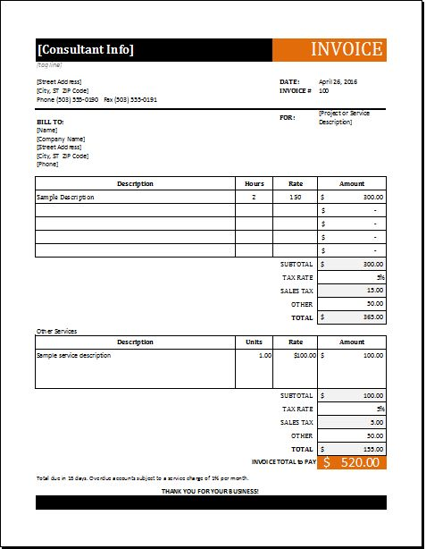 39 best Microsoft Excel Invoices images on Pinterest Invoice - consulting invoice sample