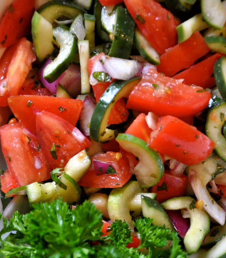 Cucumber, Red Onion and Tomato Salad