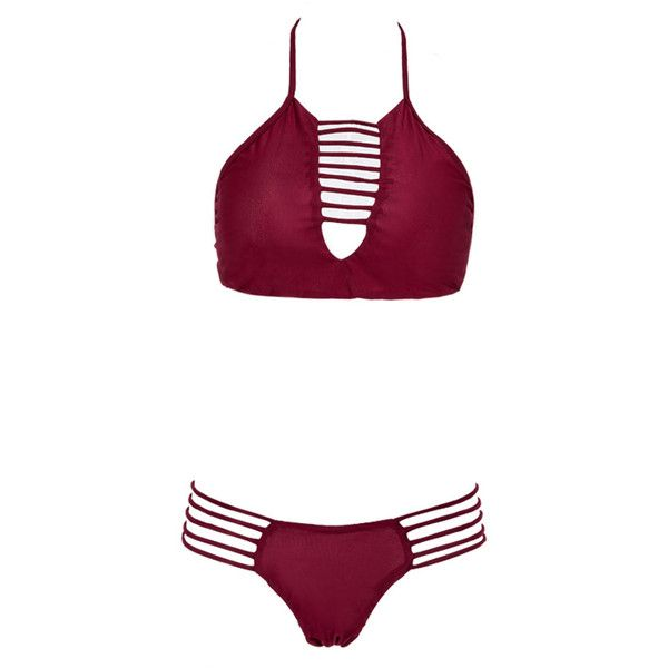 Burgundy Halter Strappy Cut Out Bikini Top And Bottom ($20) ❤ liked on Polyvore featuring swimwear, bikinis, halter tankini top, halter top, swim top, swimsuit tops and swimming bikini