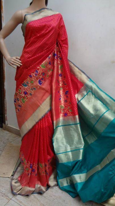 PURE SILK SAREE IN RED COLOR   Elegant Fashion Wear Price:9300 #pure #silk #red #saree