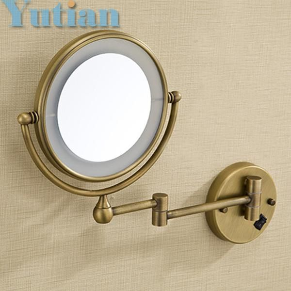 "Antique brass LED light makeup mirrors 8"" round dual sides 3X /1X mirrors bathroom cosmetic mirror wall mount magnifying mirror"