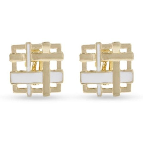 Erica Lyons Gold Gold-Tone Blurred Lines Woven Square Clip Earrings ($6.30) ❤ liked on Polyvore featuring jewelry, earrings, gold, gold jewelry, gold clip earrings, gold clip on earrings, clip earrings and braid jewelry