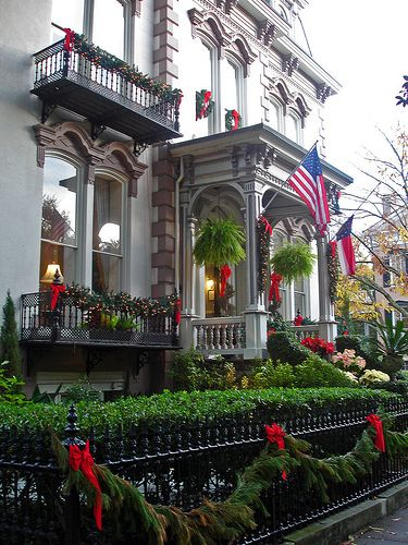 Christmas in Savannah, GA...All the Victorian homes are decorated and the city takes on a beautiful holiday aura. Love Savannah!