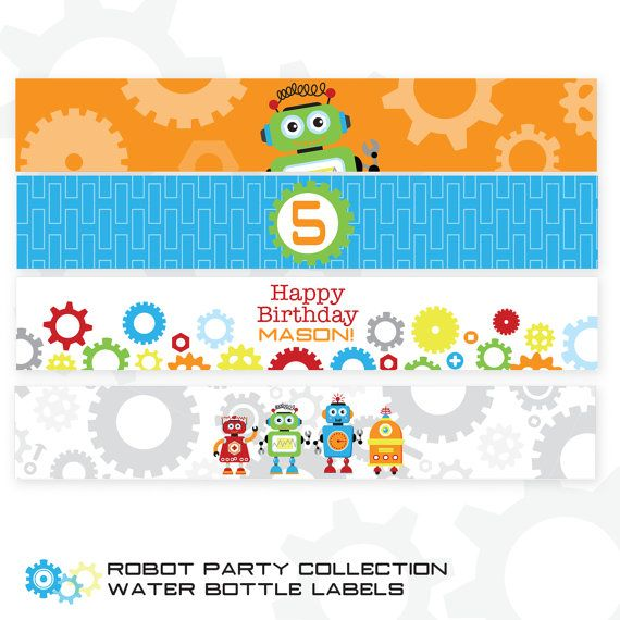 75 Best Images About Water Bottle Labels On Pinterest: 20 Best Images About Robot Birthday Party Printables On