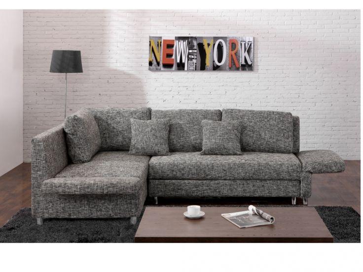 Ecksofa Schlafsofa Stoff Kikaya - Grau günstig kaufen | Möbel Online-Shop…
