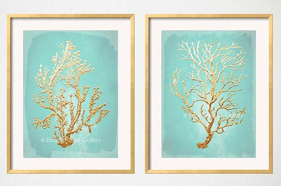 Mint and Gold Sea Coral Wall Decor duo  by BeachHouseGallery on Etsy, starting at $19.99