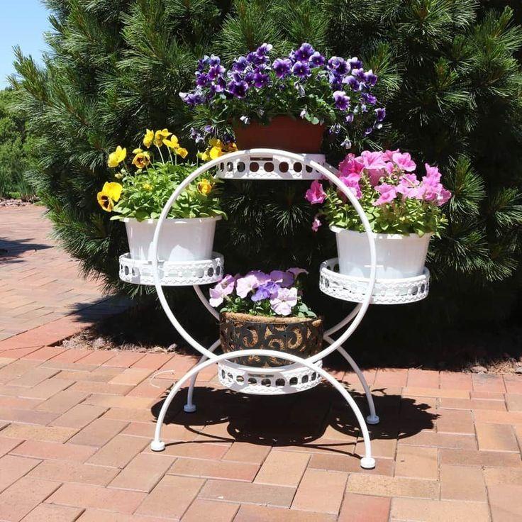 Ferris wheel plant stand indoor outdoor holds 4 tier of