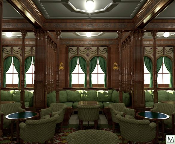 RMS Mauretania (1907) First Class Smoking Room - A recess in 1st Class Smoke Room - One of six booths along the port and starboard sides of the main room.