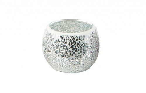 MOSAIC Tealight Holder Silver/Clear