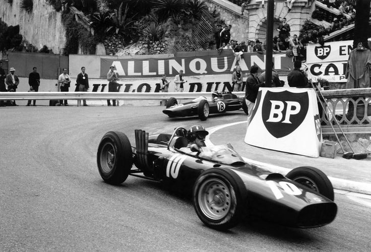 Graham Hill [BRM] leads Jim Clark [Lotus] at Monaco 1962, the race won by Bruce McLaren [Cooper]
