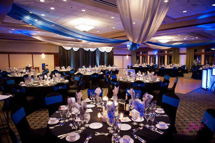 Silver, Royal Blue, and Black Wedding, Spandex Chair Covers, Ceiling Draping