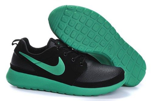 2015 cheap fashion roshe run black green mens running shoes