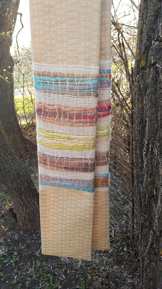 This white or light clergy stole has beautiful multi-coloured wool weaving on it. The texture and colours are wonderful! It reminds me of all the Bible verses about spinning and weaving cloth. It is perfect for weddings, baptisms, Easter, and communion. It is approximately 5 1/2 inches wide and 51 inches long.  The curve of the neck makes it sit well and stay in place. It is mid-weight and comfortable. This minister or pastors stole is available in light gold/oatmeal white (shown in...