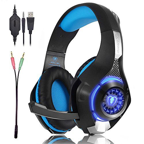 Gaming Headset with LED Light GM-1 Headband Earphone for Playstation 4 PSP Xbox one Tablet iPhone Ipad Samsung Smartphone PC with Adapter Cable (Black+Blue) (blue) - The product is compatible with XBOX ONE S, PS4, new XBOX One (old xbox one need Microsoft stereo headset adapter) .Mobile phone Tablet PC computer can be used directly.There is a microphone switch in the headphone position of voice control. Kindly Note:The USB interface is only used for power sup...