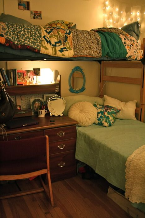 Dorm Room Layout Idea: L Shaped, One Lofted Bed, One Not Lofted Bed. This  Saves Room Without Having Bunk Beds And Gives You And Your Roomie Space. Part 54