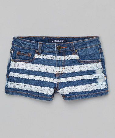 Look what I found on #zulily! Blue & White Cool Crochet Denim Shorts by Vigoss #zulilyfinds
